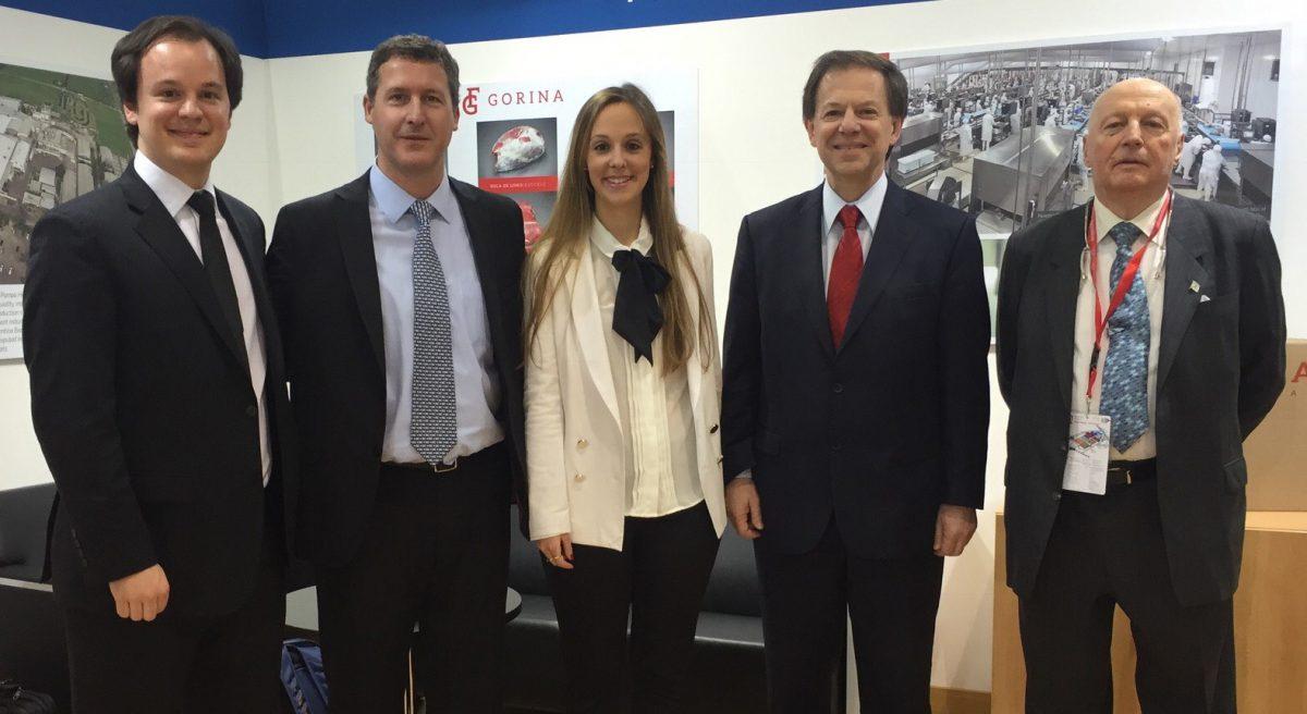 Equipo Gorina: Carlos Riusech (h); Pedro Erbin, Gte. de Exportación; Mariela Riusech; Carlos Riusech; y Esteban Berisso, Vicepresidente.