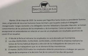 El acuerdo entre Santa Giulia y los trabajadores.