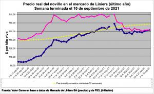 Línea azul: precio corriente - Línea roja: precio real.